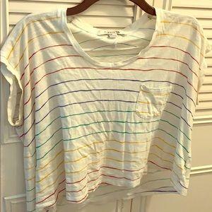 Rainbow short sleeve crop top